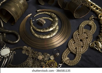 Beautiful Oriental jewelry (Indian, Arab, African, Egyptian). Fashion Exotic Accessories, Asian Tribal Gold jewelry for belly dance eastern costumes. Necklace, Earrings, Bracelets.