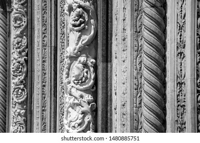 Beautiful Ornament on a gothic church in Siena Italy