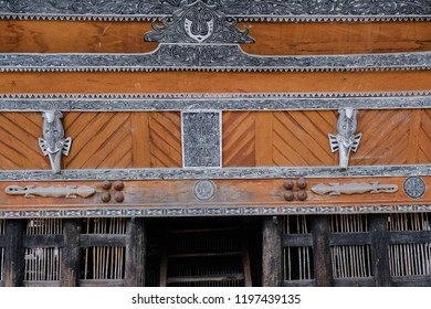 The beautiful ornaments of Batak traditional house in Huta Siallagan, Samosir Island, North Sumatera. It has paintings, art, and even wooden carve and sculptors which symbolize the local values.