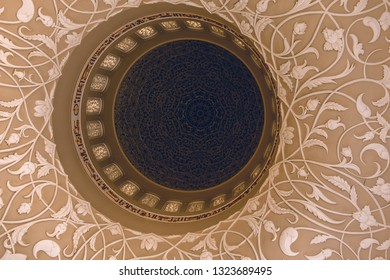 beautiful Ornaments at the ceiling of sheik zayed mosque