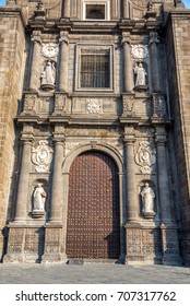 Beautiful ornate entrance to the cathedral of Puebla, Mexico