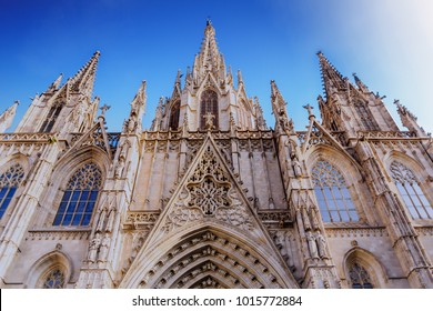 Beautiful Ornate Steeples and Trim on Barcelona Church
