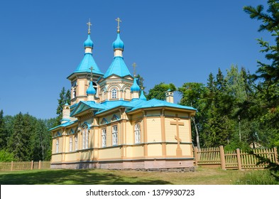 Beautiful Orthodox Church on a clear sunny day on Valaam Island. Gethsemane Skete. Church in the name of the Assumption of the Mother of God.