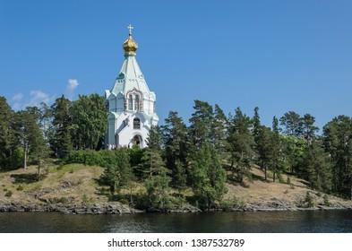 Beautiful Orthodox Church on a clear sunny day on Valaam Island. St. Nicholas Skete. Church of St. Nicholas.