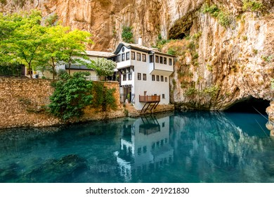 Beautiful ottoman house in Blagaj village on Buna spring in Bosnia and Hezegovina