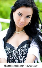 Beautiful outdoor portrait of sexy young woman