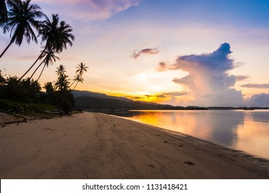 Beautiful outdoor view ea ocean and beach with tropical coconut palm tree at sunrise time for holiday vacation and travel