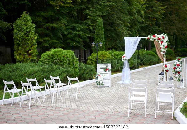 Beautiful Outdoor Wedding Decorations Arch Decorated Stock