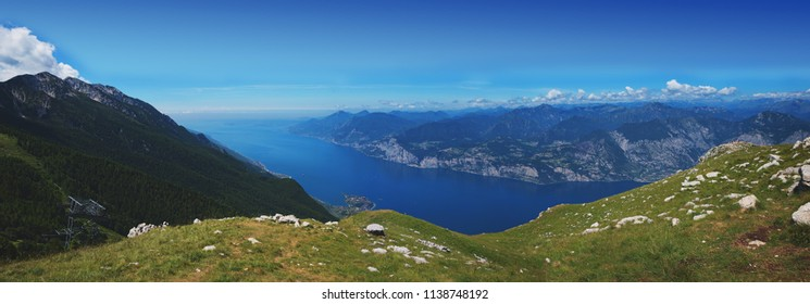 beautiful outlook to garda lake from the top of monte baldo mountain, north italy