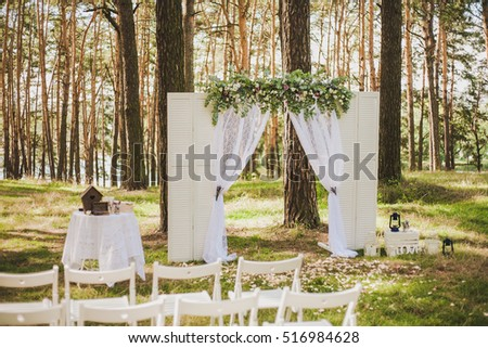 Beautiful Outside White Decor Wedding Ceremony Stock Photo Edit Now