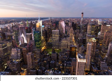 beautiful overhead view of new york city at night, USA