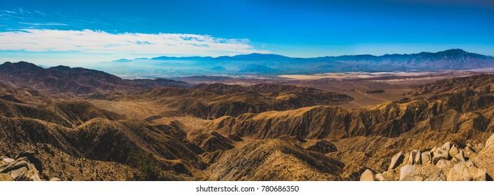 Beautiful overlook of San Bernardino Mountains and Coachella Valley from Joshua Tree's highest viewpoint, Keys View, Joshua Tree National Park, Riverside County, California