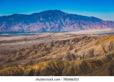 Beautiful overlook of San Bernardino Mountains and Coachella Valley from Joshua Tree's highest viewpoint, Keys View, Joshua Tree National Park, Riverside County, California