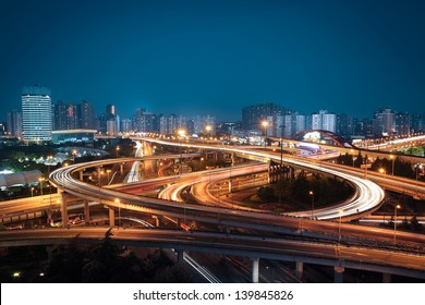 beautiful overpass at night in shanghai