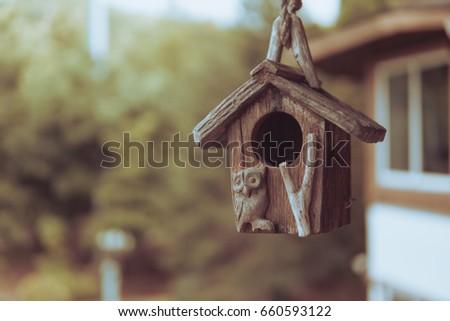 Beautiful Owl Bird House Vintage Look Stock Photo Edit Now