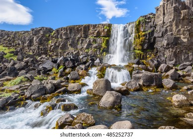 Beautiful Oxararfoss waterfall in summer, Thingvellir National Park, Iceland