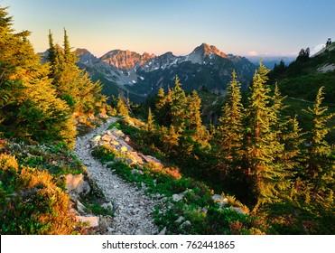 The Beautiful Pacific Crest Trail Near Snoqualmie Pass.  Alpine Lakes Wilderness, Cascade Mountains, Washington