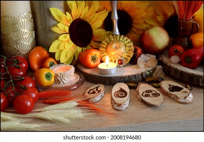 Beautiful Pagan Withcraft Altar for Litha, Lughnasadh or Mabon Ritual with wooden four elements