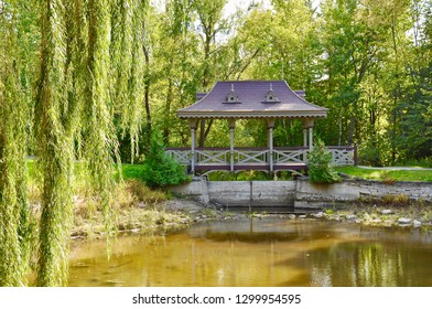 Beautiful pagoda bridge over a pond in the garden