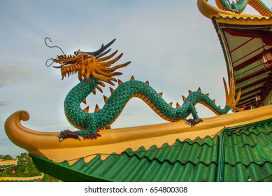 Beautiful Pagoda and dragon sculpture of the Taoist Temple in Cebu, Philippines.