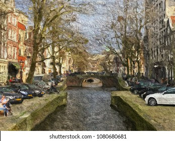 Beautiful painting of a bridge over a canal in Amsterdam with traditional houses either side with space for text.