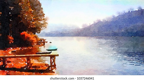 A Beautiful painting of Lake Tahoe in the spring time