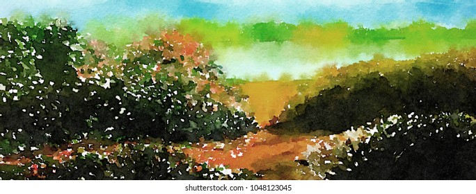 A Beautiful Painting of a rose garden By  a Lake