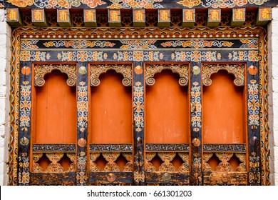 Beautiful Painting and woodwork at Punakha Dzong, BHUTAN, MAY 2014