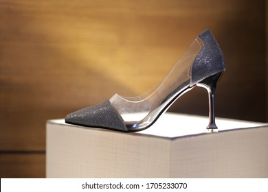 Beautiful Pair of Transparent High Heels for the Bride on The Wedding Day