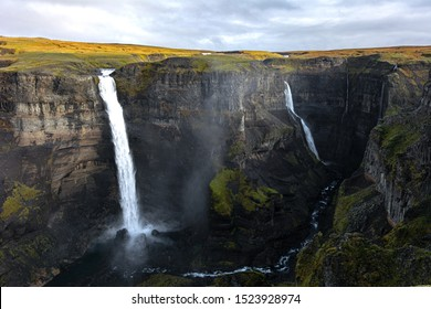 The beautiful pair of waterfalls, Haifoss and Granni, in Iceland