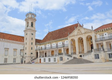 Beautiful palace and nearby courtyard in the campus of the University of Coimbra, Portugal. It is the oldest university of the country, since 2013 part of UNESCO World Heritage List. Sep 4th 2018
