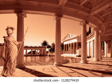 Beautiful palace with a statue and a collumns. High quality image for wallpapers. Vintage style. Palace with a swimming pool.
