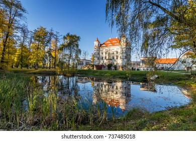 Beautiful palace in Wojanow village, Silesia, Poland