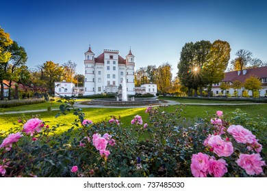 Beautiful palace in Wojanow village, Silesia, Poland