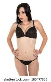 Beautiful pale Goth girl in black lingerie.