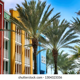 Beautiful palm trees in front of colorful buildings, Willemstad, Curacao
