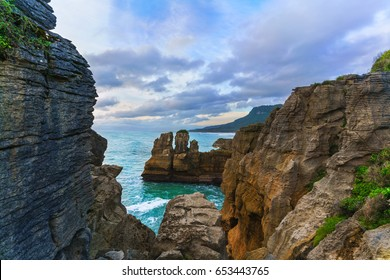 Beautiful Pancake Rocks and Blowholes are located in Paparoa National Park , Punakaiki , South Island of New Zealand