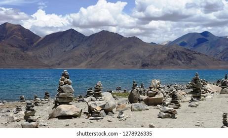 Beautiful Pangong Lake and prayer stones
