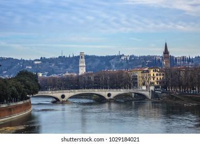 Beautiful panorama of Adige River waterfront in Verona, Italy.