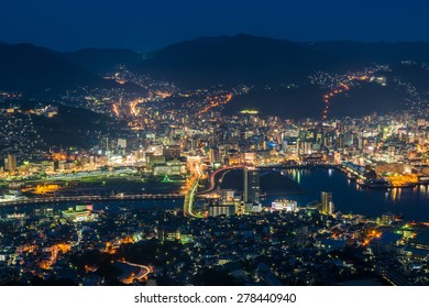 Beautiful Panorama Aerial View of Best night view of Nagasaki City Skyline Mount Inasa (Inasayama) high mountain observation deck with restaurant ropeway viewpoint at summit in Summer, Kyushu, Japan