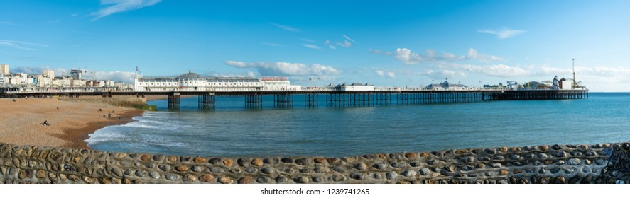 Beautiful panorama beach view of Brighton Pier and Brighton Beach the popular place for entertainment and fun park in the central at Brighton and Hove, England.