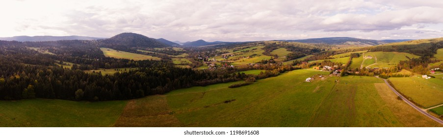 Beautiful panorama of the Beskidy Mountains. Poland. Aerial view, view from the drone.