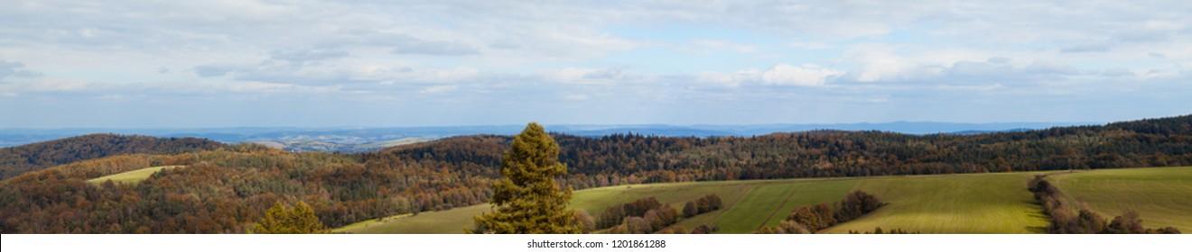 Beautiful panorama of the Beskidy Mountains. Poland.