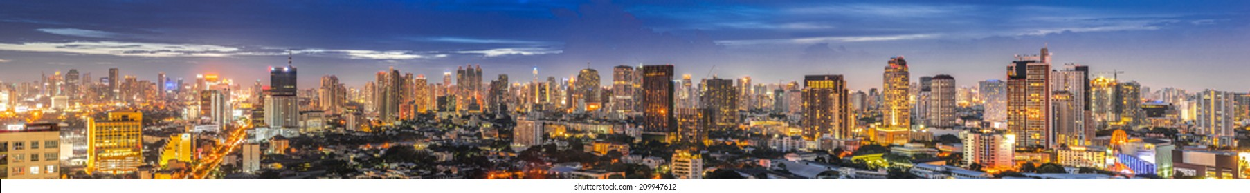 Beautiful panorama cityscape Bangkok skyline in sunset time,Thailand