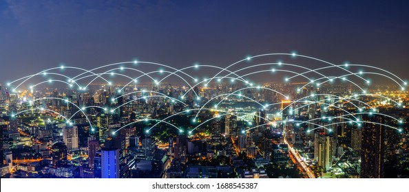 Beautiful panorama cityscape with wifi network and connection technology concept, internet globalization concept