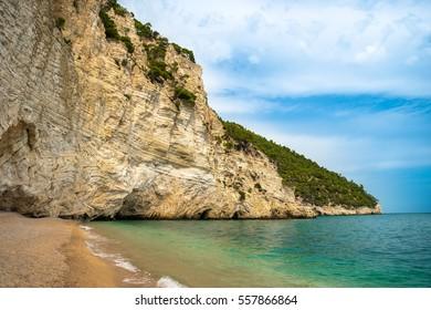 Beautiful panorama of the coastline of Zagare bay, Puglia.
