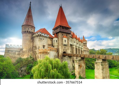 Beautiful panorama of the Corvin castle with wooden bridge,Hunedoara,Transylvania,Romania,Europe