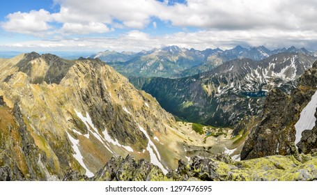 Beautiful panorama of deep valley in High Tatras mountains in Slovakia.