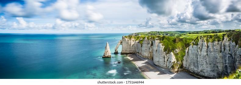 Beautiful Panorama in Etretat France ,Sea, Beach, Coast, Normandy, Atlantic, Ocean, Cliffs, Rocks,