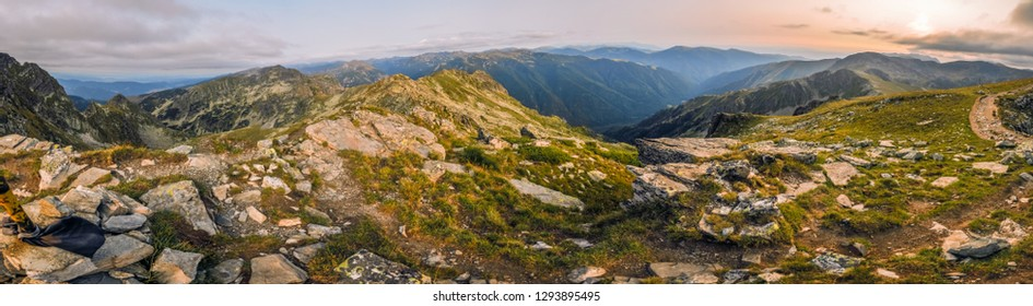 Beautiful panorama of an evening in Bulgarian mountains.